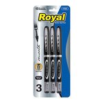 ROYAL BLACK ROLLERBALL PEN 3/PK 1723