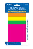 NEON STICK ON NOTES 4PK 30CT 5103